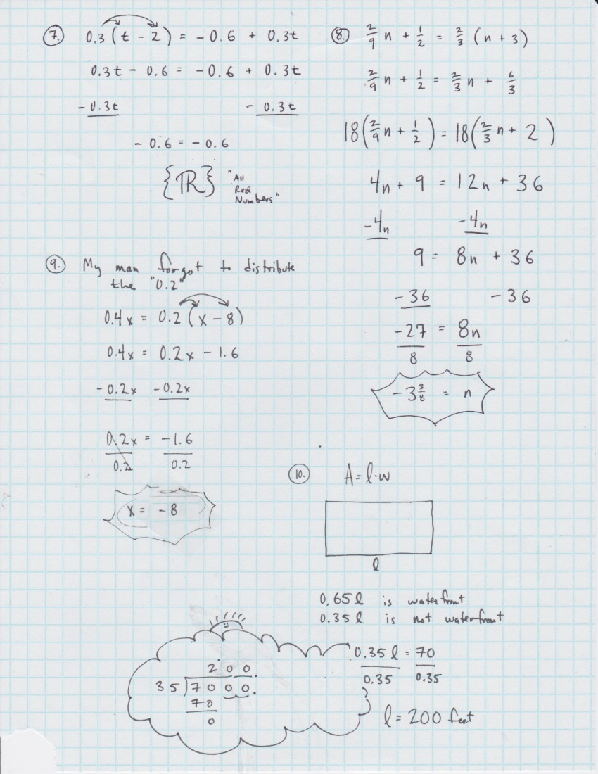 Yesterday S Work Unit 2 Balancing Linear Equations Have A Problem Use Math To Solve It