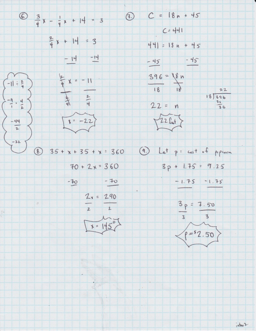 Yesterday's Work: Unit 2 - Balancing Linear Equations ...