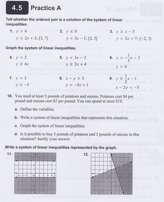 Systems of Equations & Inequalities - Notes, Homework, and
