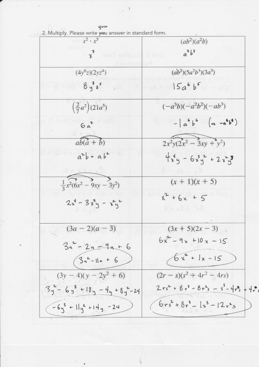 Yesterdays Work Units 7 8 Have a Problem Use Math to Solve It – Factoring Polynomials Worksheet Answers