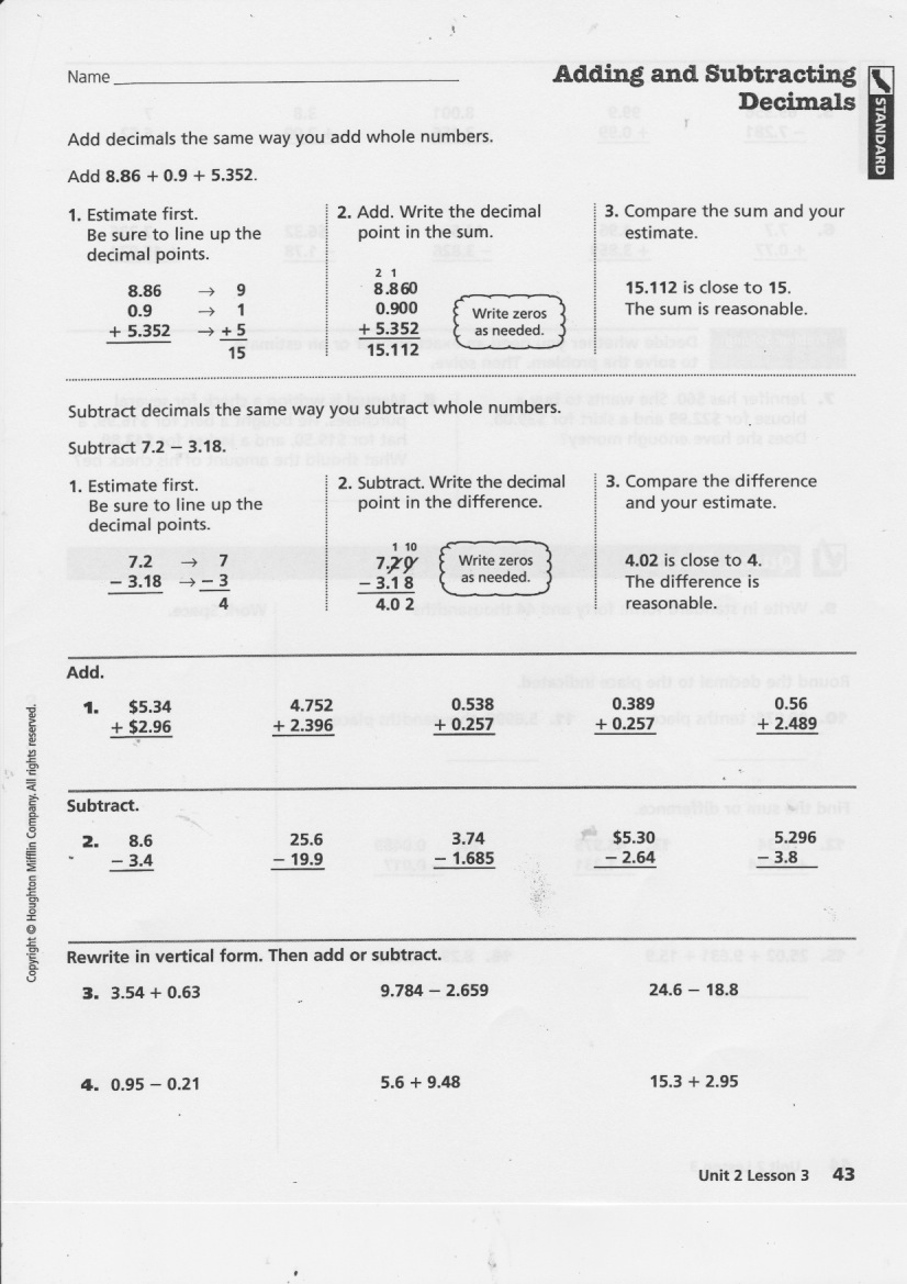worksheet Adding Subtracting Rational Numbers Worksheet yesterdays work units 6 7 8 have a problem use math to independent on adding subtracting decimals front back