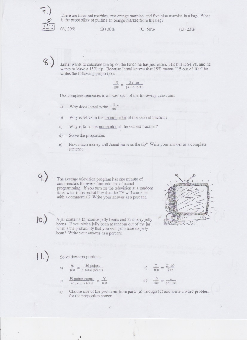6th Grade Todays Work Have a Problem Use Math to Solve It – Percent Proportion Worksheet
