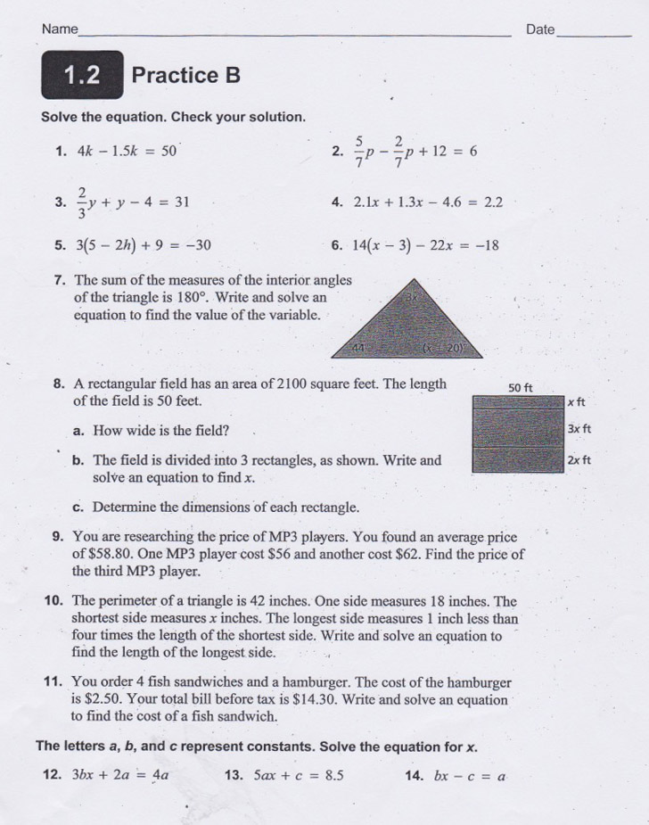 Math Worksheets math worksheets linear equations : Yesterday's Work: Unit 2 - Balancing Linear Equations - Have a ...